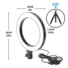 Photography LED Selfie Ring Light 16/20/26cm three speed Stepless Lighting Dimmable With Cradle Head For Video Live Studio led vl011 10w 700lux 150 led professional video light w 2 x filters cradle head black