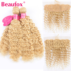Beaufox 613 Blonde Bundles With Frontal Closure 613 Peruvian Deep Wave Human Hair Lace Frontal Closure With Bundles Remy