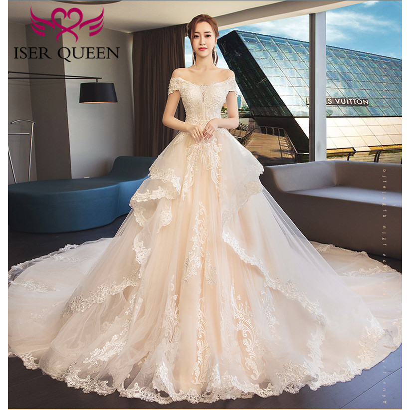 Cap Sleeves  Champagne Delicate Embroidery Big Train Tiered Tulle Lace Up Dresses For Wedding Korean Stylish Bridal Gown WX0147
