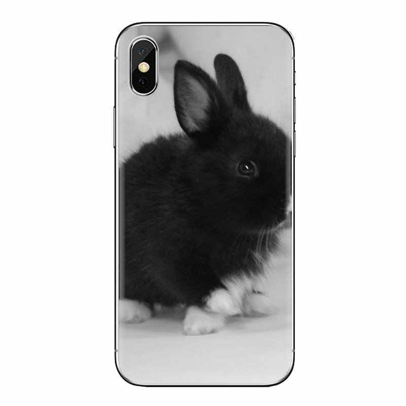 Para o iPod Touch Da Apple iPhone 4 4S 5 5S SE 5C 6 6S 7 8 X XR XS Mais MAX Branco Cinza Bebê Coelhos Cartaz Transparente TPU Casos de Cobertura