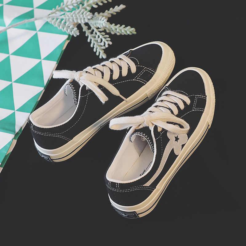 2019 Gevulkaniseerd Schoenen Vrouwen Canvas Sneakers Platte Casual Schoenen Vrouwen Trainers Dames Sneakers Rubberen Zool Zapatos Mujer X5-61