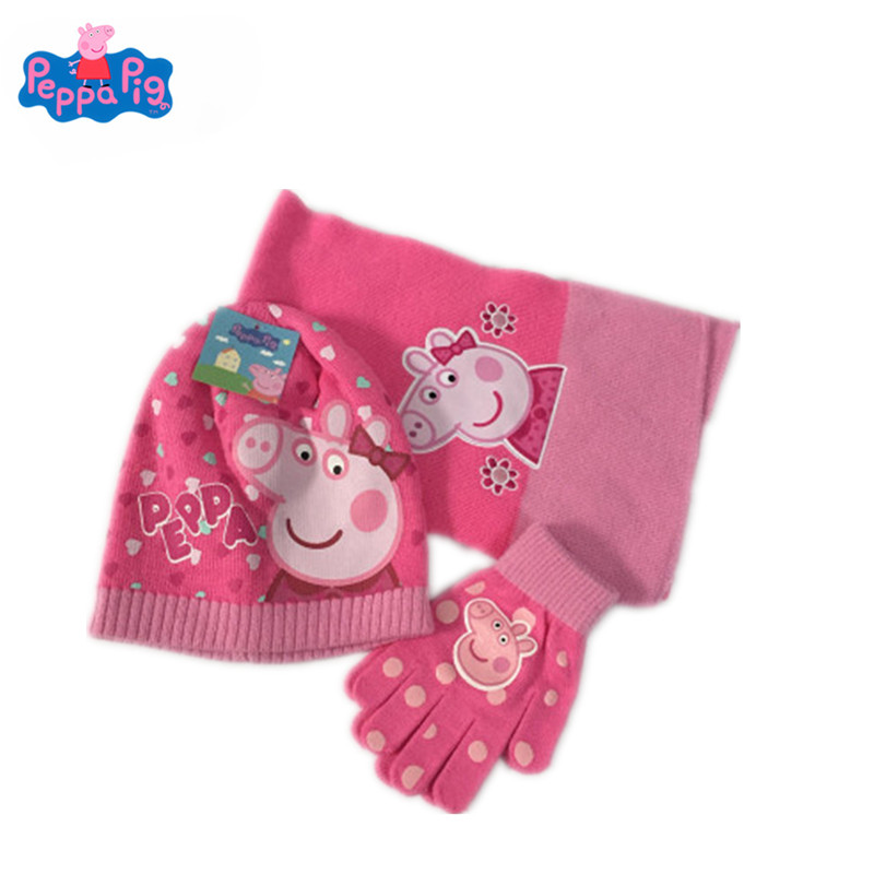 Peppa Pig Peggy George Fall/Winter Knit Gloves Hat Scarf Three-Piece Children Outing Wear Tide Products Children's Gifts