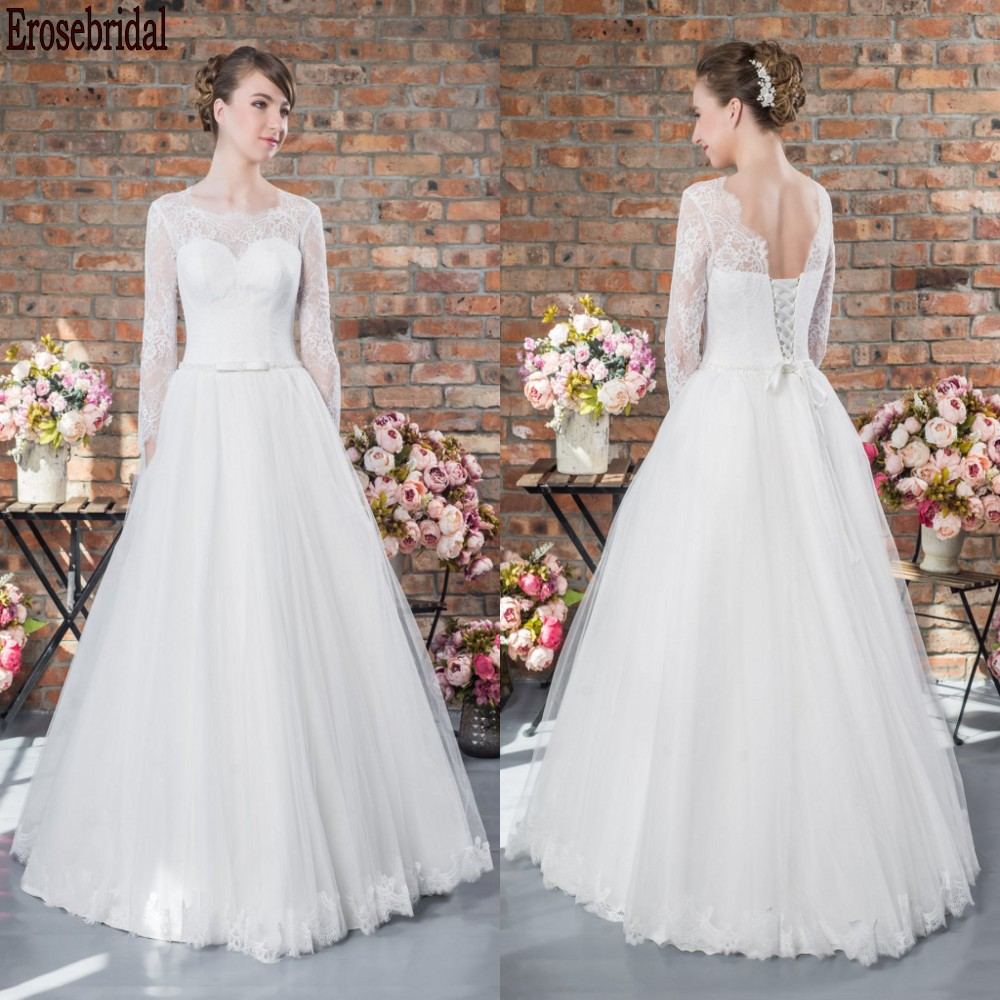 Simple Style Long Sleeve Wedding Dress 2020 A Line Elegant Lace Wedding Gown Bridal Lace Up Back Free Customized