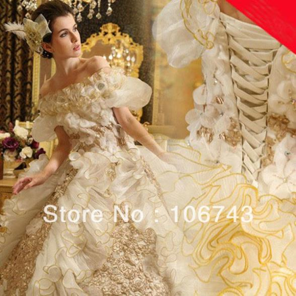Free Shipping 2016 New Luxurious Cathedral Train Wedding Dress Custom Sz