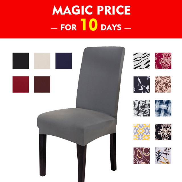 Solid Printed Chair Covers Anti-dirty Washable Stretch Dining Chair Cover for Banquet Party Restaurant Home Decoration 1