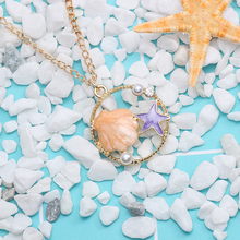 DIY Shell Hollow Out Round Necklace For Women Girls Lovely Starfish Enamel Crystal Pendant Necklaces Cute Handmade Jewelry Gifts floral enamel hollow out pendant necklace