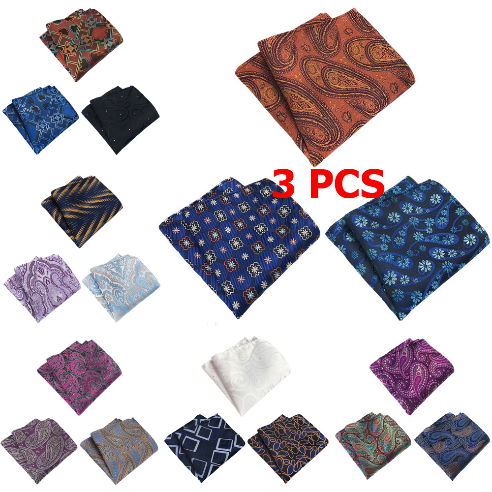 3 PCS Men Classic Paisley Floral Pocket Square Handkerchief Wedding Hanky
