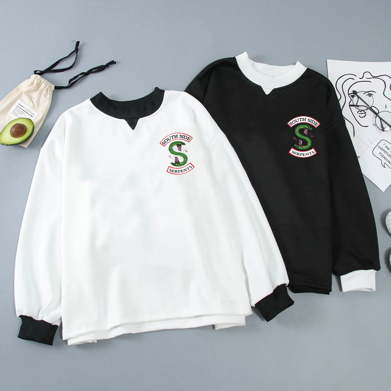 Cute RIVERDALE Sweatshirt Hoodie Matching Sweatshirt Hoodiesstitching Round Neck Long Sleeve Black Sweatshirt