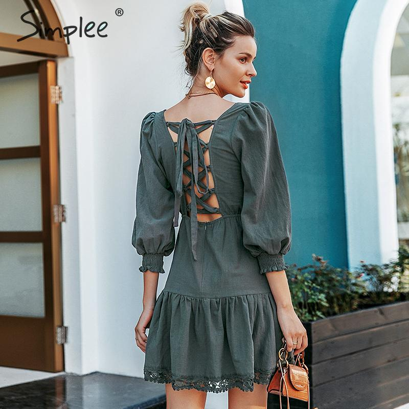 Simplee A-line hollow out women dress Elegant ruffled lantern sleeve female cotton dress Autumn casual ladies short party dress