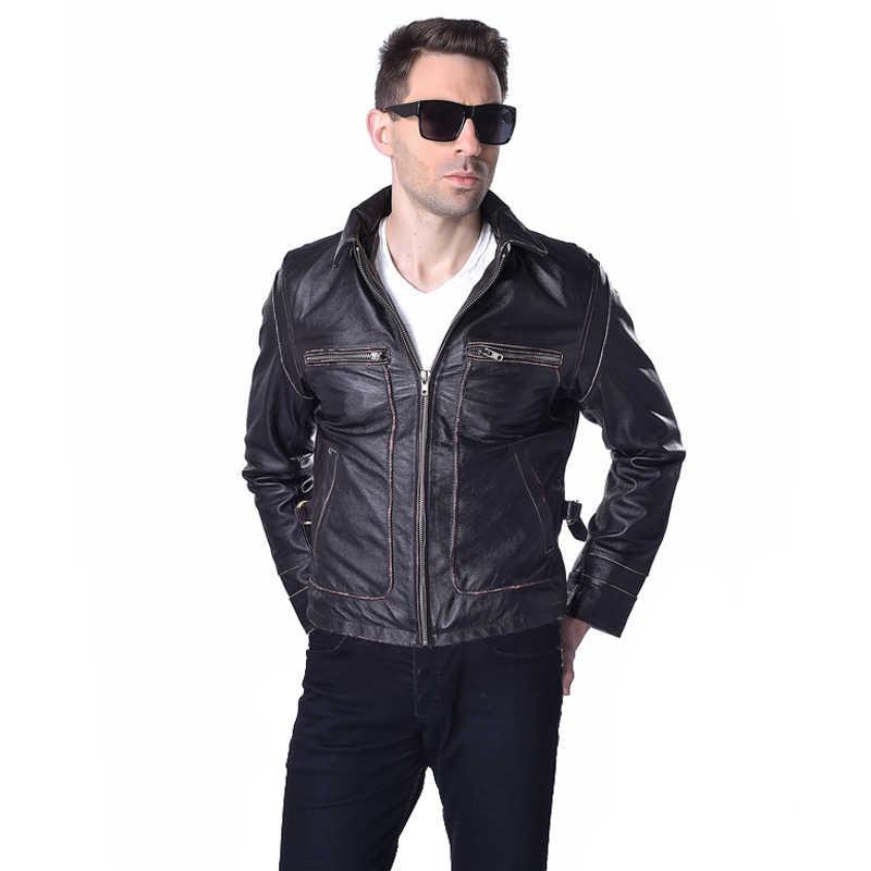 Fabrika hakiki deri ceket erkekler buzağı dana derisi marka Vintage Retro kahverengi bombacı motosiklet Biker erkek kış ceket ZH166