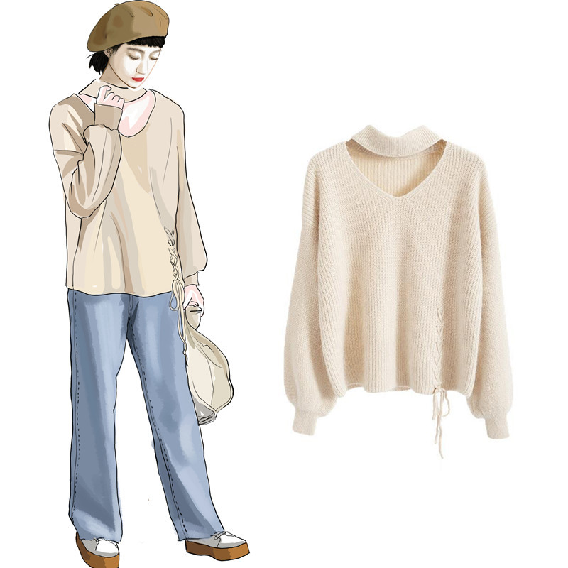 CHRLEISURE Women's Sweaters Winter V-neck Sexy Women's Knitted Jacket Trend Bandage Winter Clothes Women 6