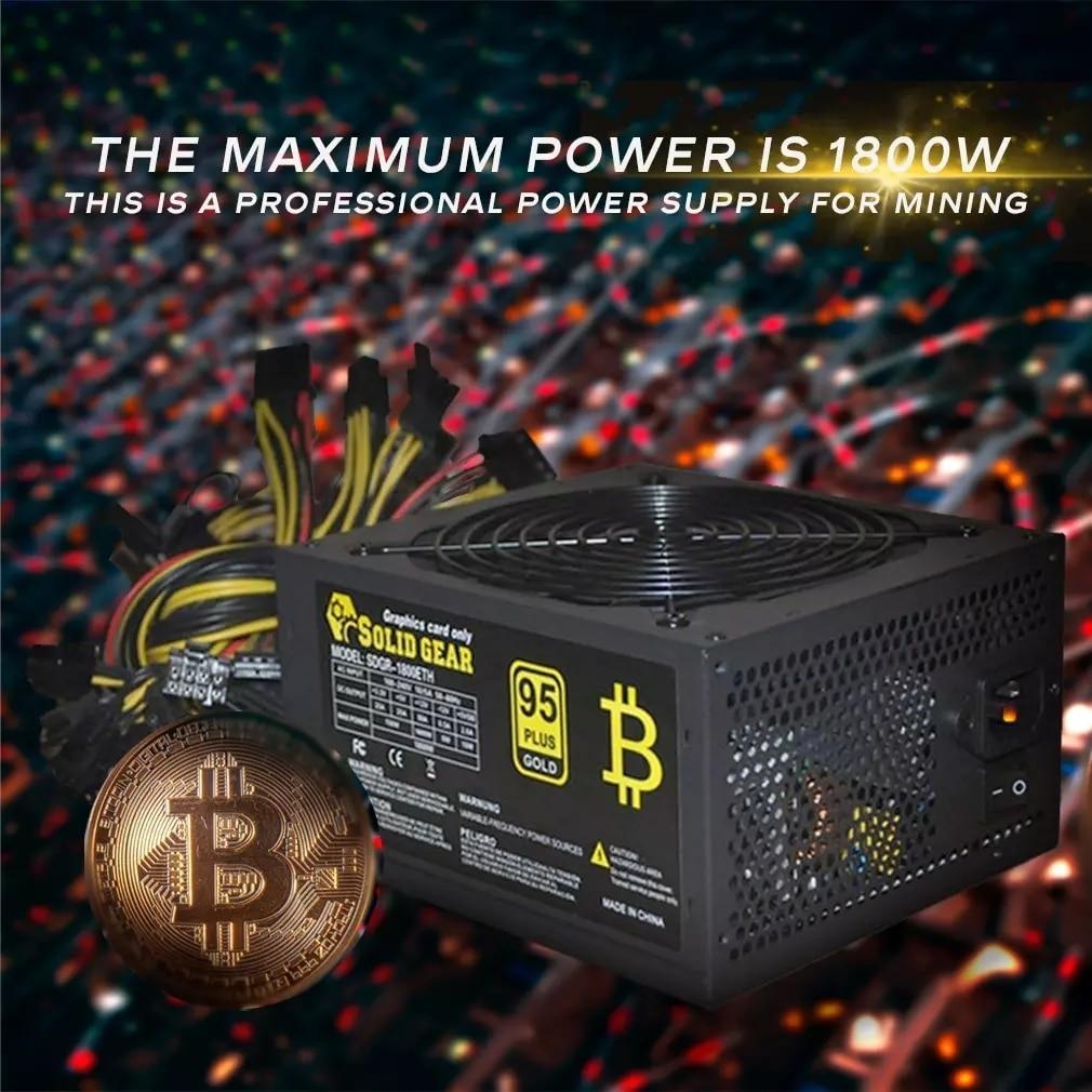 1800W ATX Antminer PSU Modular Mining BTC PC Power Supply Supports 6 Graphics Card 160-240V Power Supply Mining Machine Support