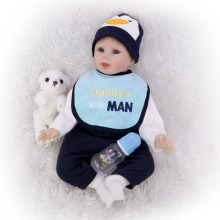 Exquisite cotton reborn baby 55 CM 3/4 silicone rebirth doll realistic boy Simulation Early education props Bebe girl toy