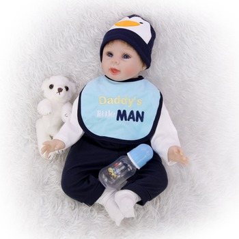 Exquisite cotton reborn baby 55 CM 3/4 silicone rebirth doll realistic reborn boy Simulation Early education props Bebe girl toy