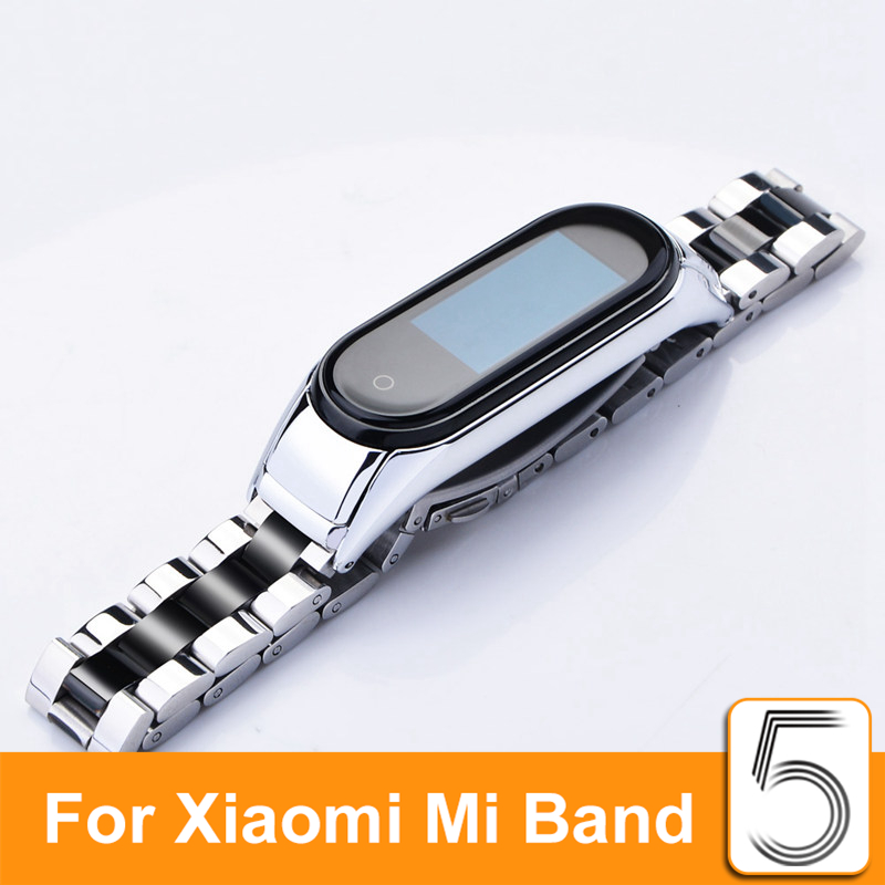 Metal Stainless Steel Strap For Xiaomi Mi Band 5 Bracelet Straps Mi Band 5 Leather Metals Protector Miband 5 Wrist Strap Mi5