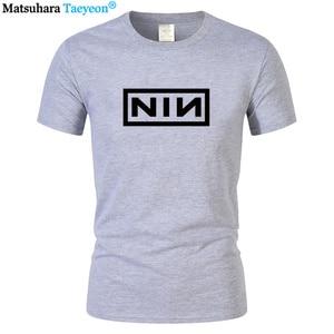 2019 summer Men Print Nine Inch Nails Rock Band T-shirts Size Fashion Costume Cotton Slim Fit Casual Short Sleeve T Shirt S-3XL