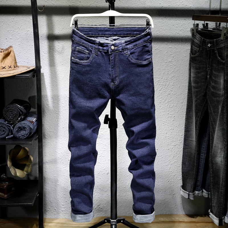 Male Jeans Men Men'S Jean Homme Denim Slim Fit Pants Trousers Straight Blue Black Biker Skinny Designer High Quality Soft