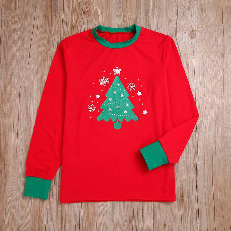 2019 คริสต์มาสครอบครัวแม่และลูกสาว Daddy Son ชุดสีแดง Xmas ชุดนอนคริสต์มาสสีเขียวต้นไม้ครอบครัวดู Pjs