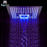 M Boenn 64 Color 3 Function Big Led Shower Head Waterfall Ceiling Shower Bathroom SPA Rainfall Stainless Steel Chrome Showerhead