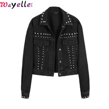 Korean Style Studded Women Denim Jackets Autumn 2019 Hot Sales Black Lapel Single Breasted Womens Cool Girls Fall Jacket Coats