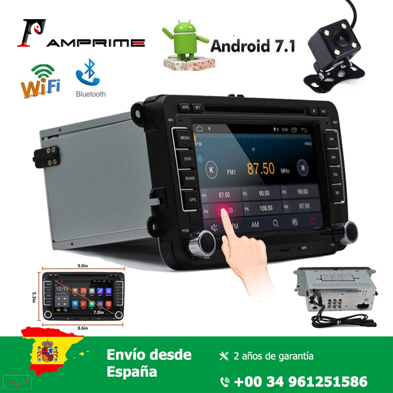 AMPrime 7.1'' Car Radio 2 Din Multimedia player Capacitive Touch screen Mirror Link Wifi GPS Navigation with Antenna Bluetooth image