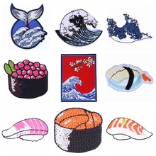 Embroidered Patch Japanese Wave/Sushi Patch On Clothes Iron On Patches For Clothing Whale Patch Sew On Garment Apparel Accessory