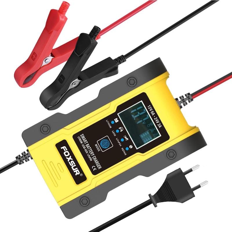 FOXSUR 12 В/24 В Автомобильное зарядное устройство для аккумуляторов 6A 12,6 в, литиевое зарядное устройство, умное зарядное устройство для аккумул...