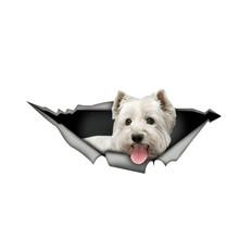 Dawasaru West Highland White Terrier naklejki samochodowe 3D Pet graficzna winylowa tablica naścienna okno samochodu Laptop zderzak samochodowy naklejki 13cm * 5cm tanie tanio Cała powierzchnia CN (pochodzenie) Do naklejania 0 01cm cartoon Kreatywne naklejki Bez opakowania car sticker