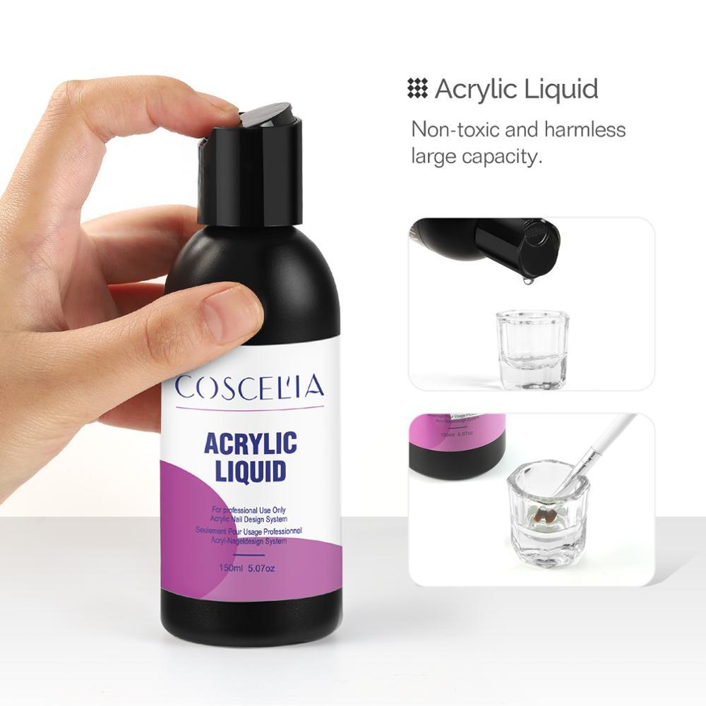 Акриловая пудра COSCELIA, жидкая резьба, Кристальный полимер для ногтевого дизайна, кристальная пудра, жидкая пудра для маникюра, дизайн ногтей