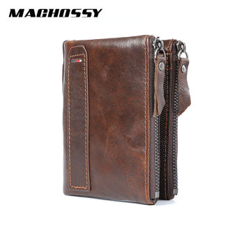 RFID Genuine Leather Wallet Men Quality Short Coin Purse Double Zippers Pocket Wallet Men's Brand Design Vintage Leather Wallets vintage rfid wallets 100% genuine leather men short wallet for cards male coin purse card holder pocket double zipper design