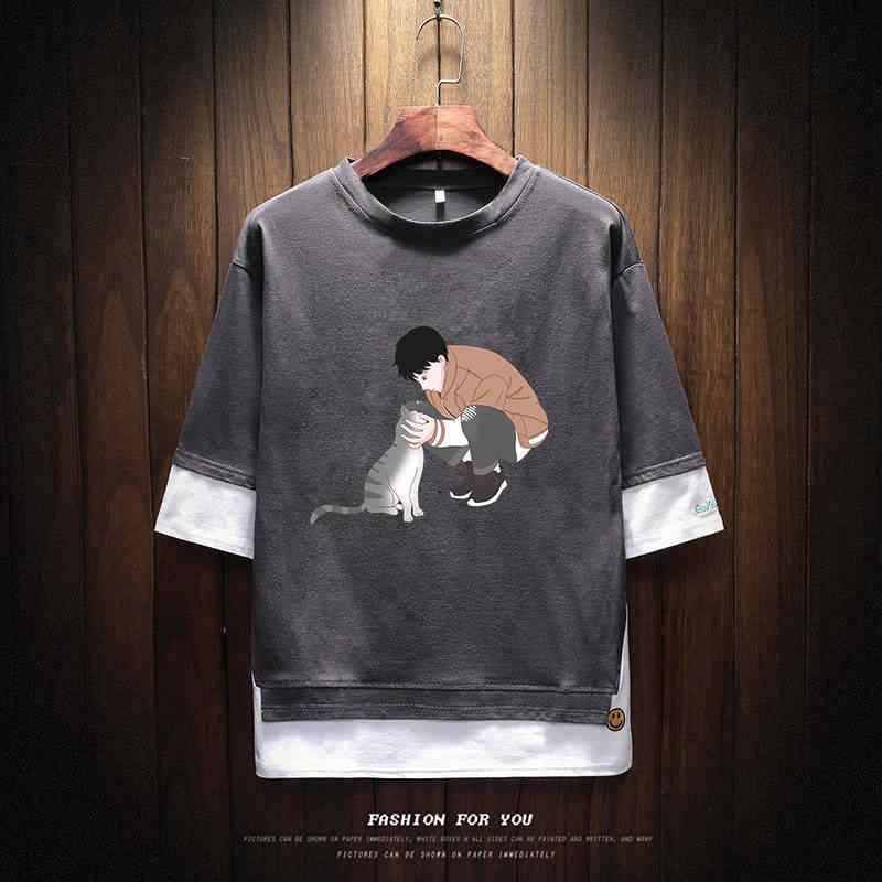 夏ワンピースtシャツストリートカジュアルフード付きセータールースメンズ漫画tシャツおかしい高ストリートトップtシャツヒップホップtシャツ