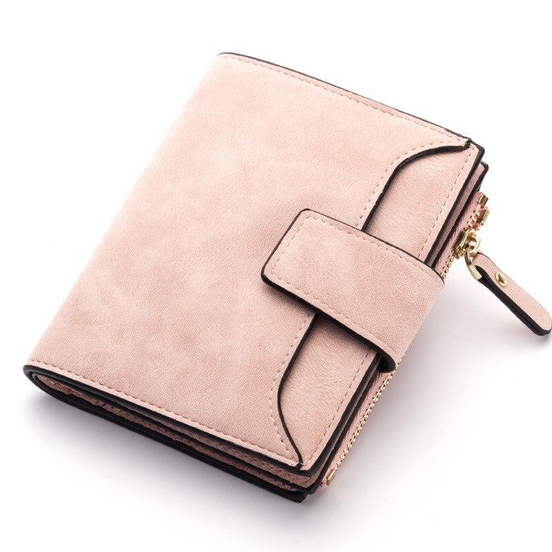 Кожаный женский кошелек маленький и тонкий кошелек с отделением для монет женские кошельки с отделением для карт Роскошные брендовые кошельки дизайнерский кошелек - Цвет: Pink