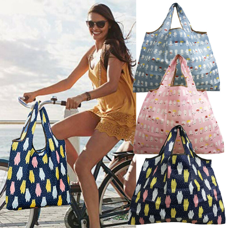 6 Style Shopping Bag Large Capacity  Eco-friendly Folding Reusable Portable Shoulder Handbag Polyester For Travel Grocery Bags