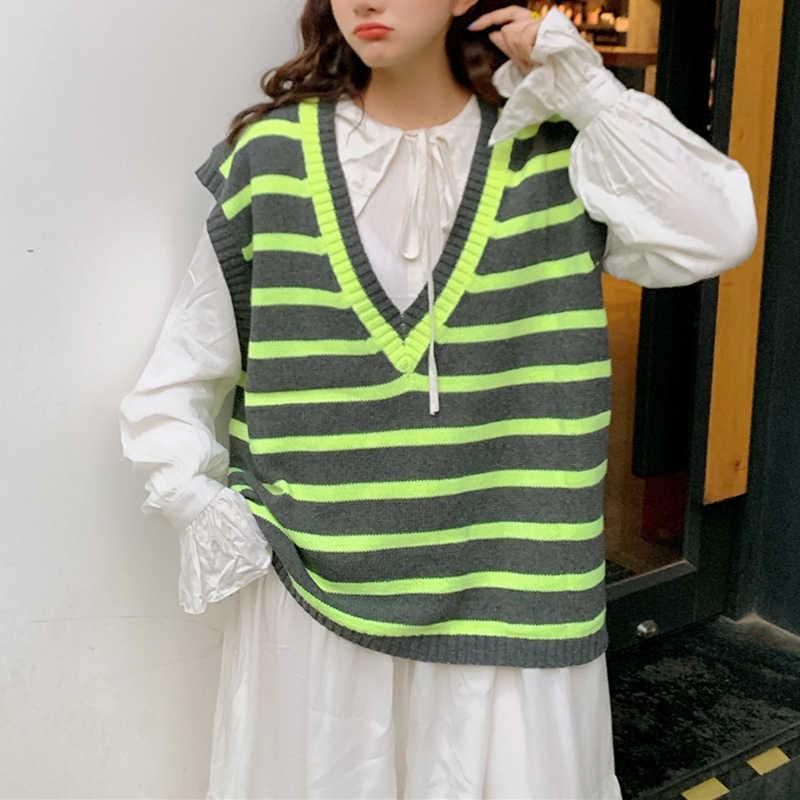V neck kamizelka w paski swetry moda uliczna wełny serce sweter w stylu Preppy luźne CasualSleeveless Kawaii dziewczyna topy swetry