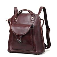 Women's Backpack Genuine Leather Vintage School bags Women Travel Backpack Bags for Teenagers Girls Female Backpacks 3011