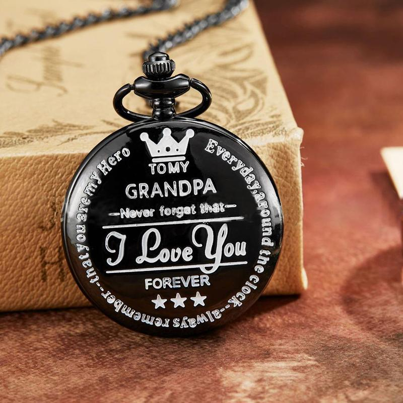 Grandpa I Love You Customized Quartz Pocket Watch Vintage Roman Numeral Display Pendant Clock Birthday Gift For Man Dropshipping