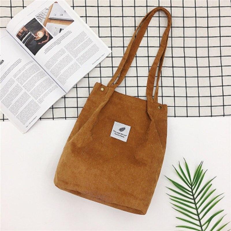 LOOZYKIT, Женские однотонные вельветовые сумки на плечо, сумка для покупок, большая посылка, сумки через плечо, кошельки, Повседневная сумка для женщин, сумка для книг - Цвет: brown