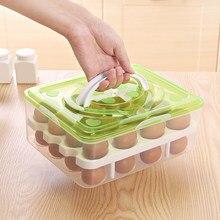 Caja de almacenamiento para nevera, bandeja con bandeja Visible de 2 capas, 32 celdas, organizador para huevos, con tapa y mango, contenedor para huevos