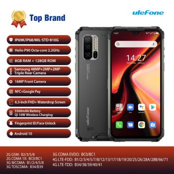Global Version Ulefone Armor 7 Android 10 Smartphone Rugged Mobile Phone Helio P90 8GB+128GB 2.4G/5G WiFi IP68 48MP CAM 4G LTE 10 1 inch official original 4g lte phone call google android 7 0 mt6797 10 core ips tablet wifi 6gb 128gb metal tablet pc