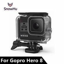 SnowHu für Go Pro Hero 8 45m Unterwasser Wasserdichte Fall Tauchen Schutzhülle Gehäuse Halterung für Gopro 8 Schwarz zubehör GP801