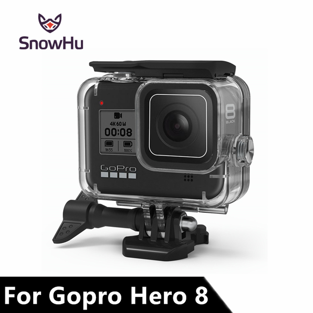 SnowHu for Go Pro Hero 8 45m Underwater Waterproof Case Diving Protective Cover Housing Mount for Gopro 8  Black Accessory GP801