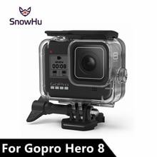 SnowHu pour Go Pro Hero 8 45m boîtier étanche sous marin plongée housse de protection boîtier de montage pour Gopro 8 noir accessoire GP801