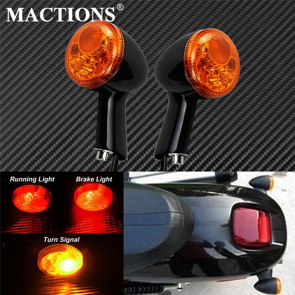 Задний указатель поворота для мотоцикла, светодиодный фонарь с желтым свесветильник, тормозные ходовые огни, подходит для Harley Sportster XL883 XL1200 ...