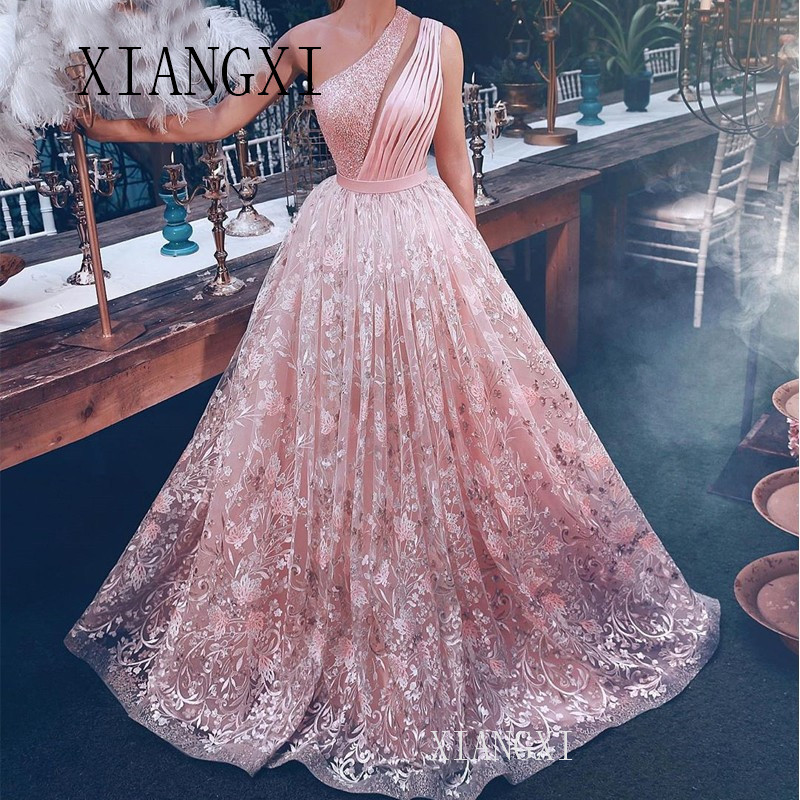 One-Shoulder Pink Evening Dresses Long 2020 New A-Line Lace Islamic Dubai Saudi Arabic Formal Party Dress Prom Gowns