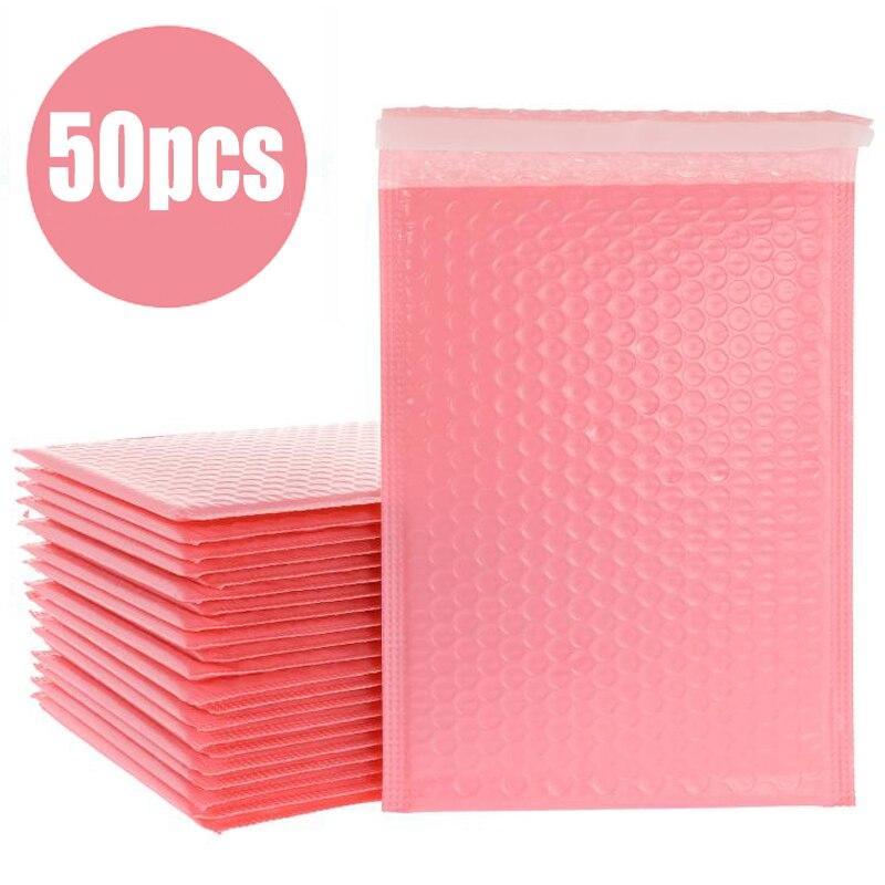 50 шт./лот, розовые пенопластовые конверты, самозапечатывающиеся конверты, мягкие конверты для доставки с пузырчатым почтовым мешком, подаро...