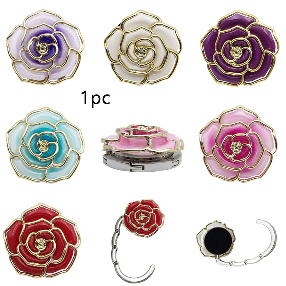 Folding Bag Hook Restaurant Alloy Mini Handbag Holder Hanger Round Portable Rose Shaped Cafe Purse Anti Slip Table