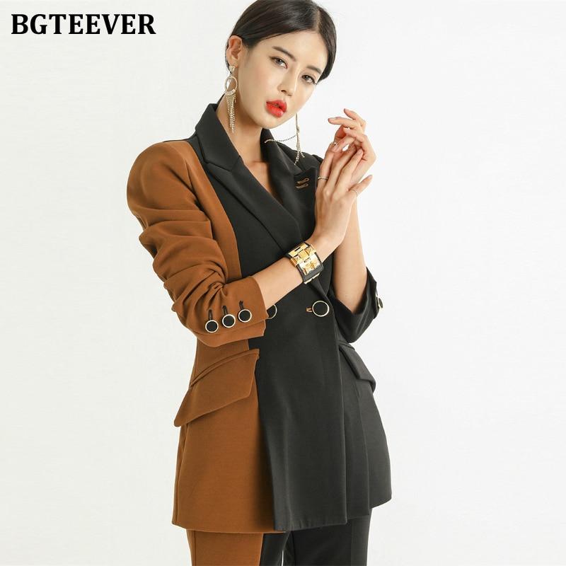 BGTEEVER Fashion Patchwork Women Blazer Set Double-breasted Sashes Jacket & Pencil Pant Women Pant Suit 2 Pieces Work Suit Femme
