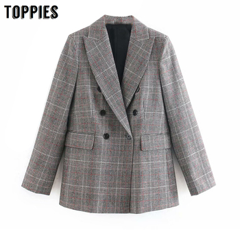 Vintage Gray Lattice Suit Jacket Coat Office Laides Formal Blazer 2020 Spring Women Jacket Double Breasted