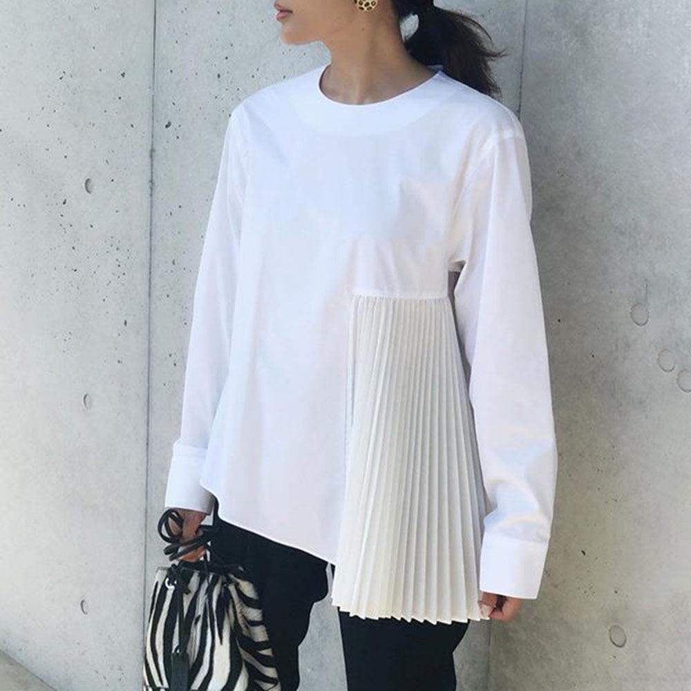 Spring Long Sleeve Women Blouse 2020 Korean Office Ladies Fashion Chic Pleated Girl's Plain White Shirt Causal Female Tops