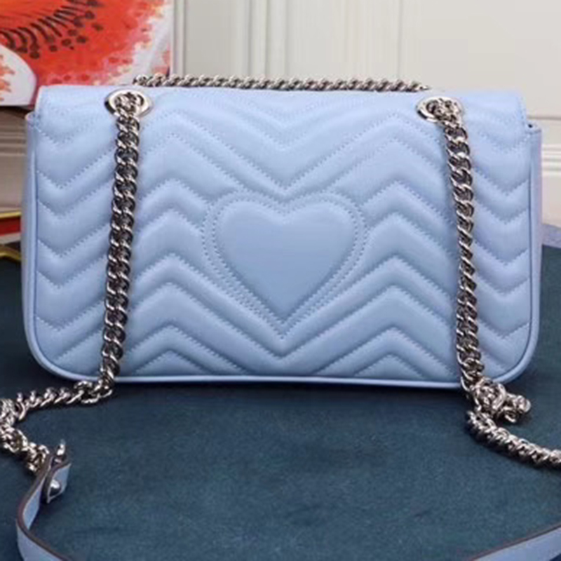 2020 New Women's Bag Light Color Luxury Big Brand Design Heart Chain Bag Small Leather Single Shoulder Slant Cross Handbag Fashi